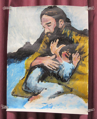 Painting of Jesus embracing a child