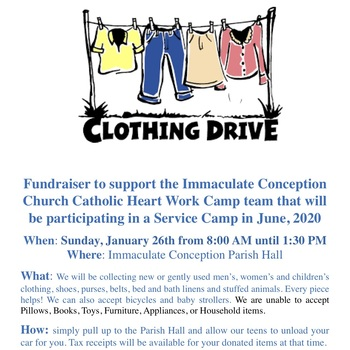 Collecting Clothes Catholic Heart Work Camp