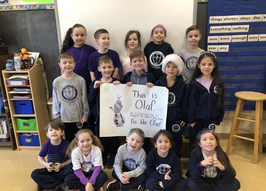 Anti-Bullying wear purple day. We stand up with Olaf to always be kind and nice to everyone!