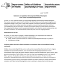 Statement on Legislation Removing Non-Medical Exemption from School Vaccination Requirements