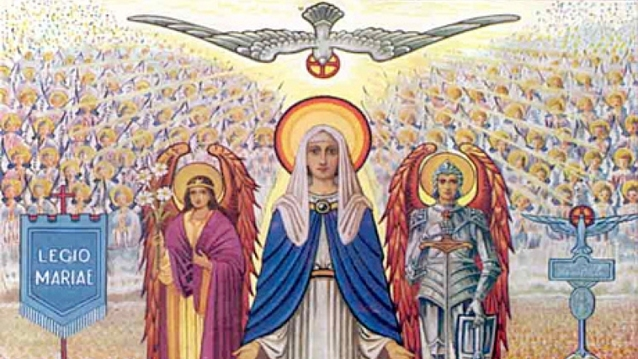 Mary with Archangels Gabriel and Michael and the Legion banner