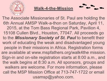 Walk for the Missions -- MSP
