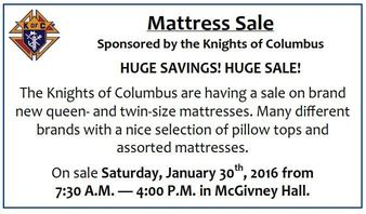 Mattress Sale from the KofC