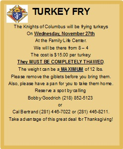 Turkey Fry by the KofC