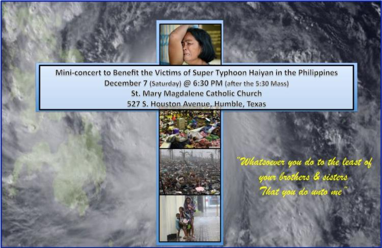 Mini concert for victims of Typhoon in the Philipines