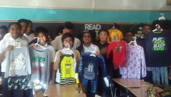 8th Graders & Mrs. Sanders Donate Pun Pajamas to Scholastic Book Club's Pajama Drive