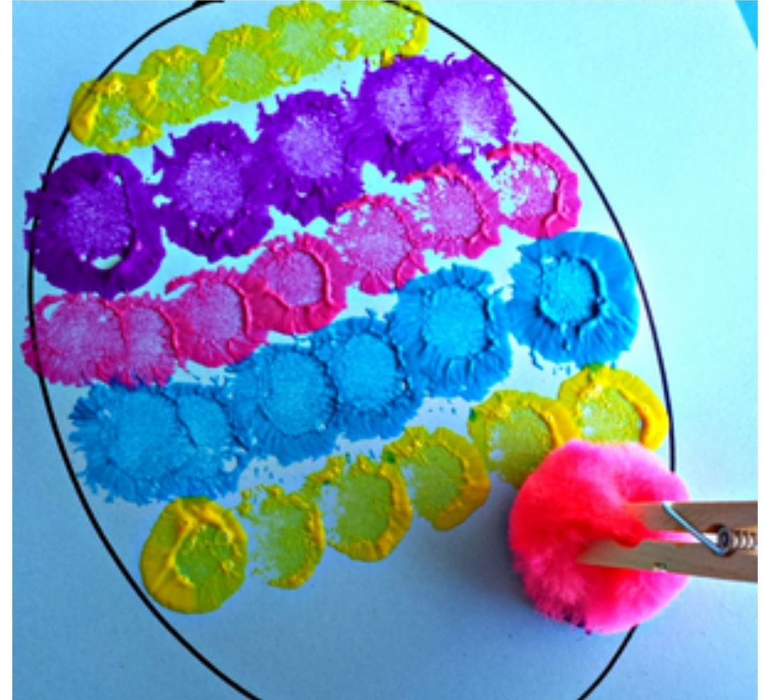 Cotton Ball Egg Painting