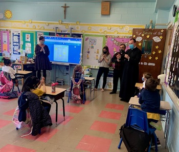 Fr. Sullivan, our soon to be Pastor, visits HFS