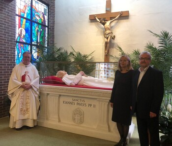Parishioners flock to reliquary of sainted 'companion on journey'