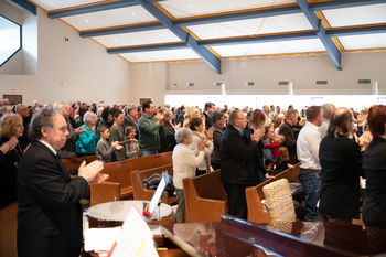 Faithful fill pews at liturgy in newly-renovated spiritual 'home'