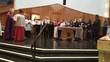 Photo courtesy of Ofelia James Above, Bishop Weisenburger with those participating in the Rite of Election at St. Francis Assisi Parish in Yuma.