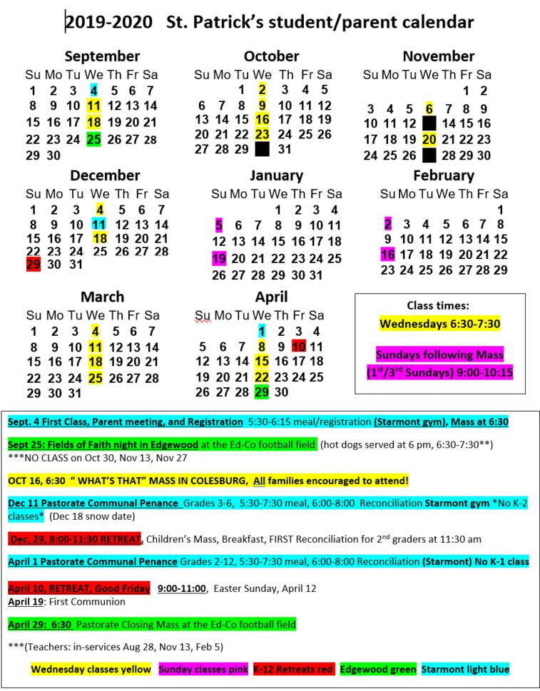 2019-2020 Faith Formation Calendar