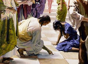 """Fifth Sunday in Lent: """"Words on the Ground"""""""