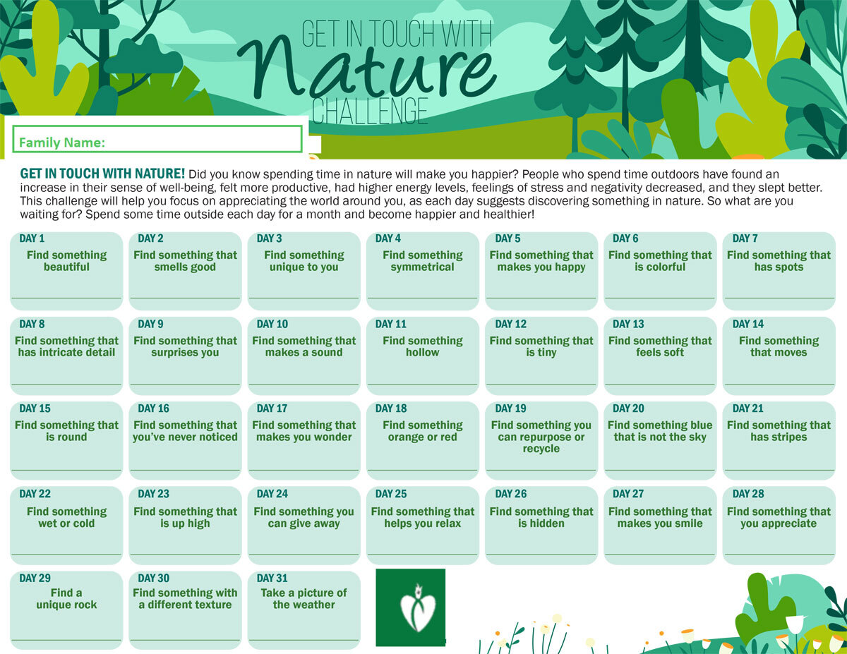 October - Get in Touch with Nature - Family Challenge