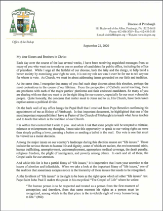 Read Bishop Zubik's Letter to the Faithful Regarding the 2020 Election