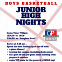 """Boys Basketball Junior High Night """"Red Out"""""""