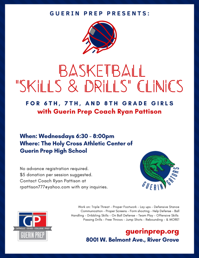 Image is a flyer, advertising basketball clinics for middle-school aged girls
