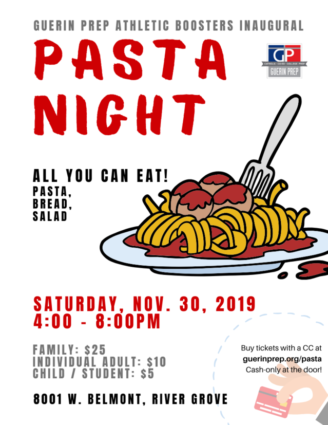 Advertisement Flyer with Details about Pasta Night