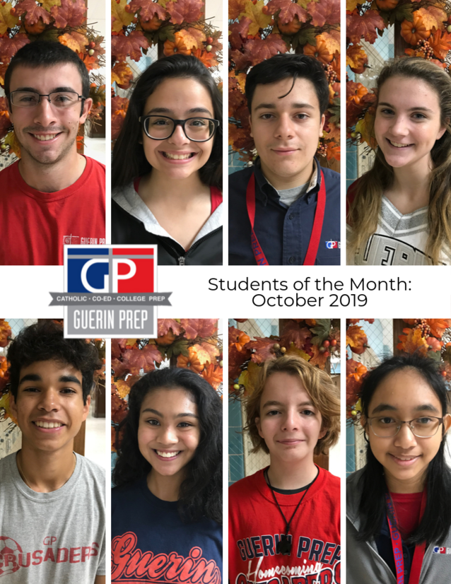 Collage of 8 separate photos showing the students of the month for October 2019