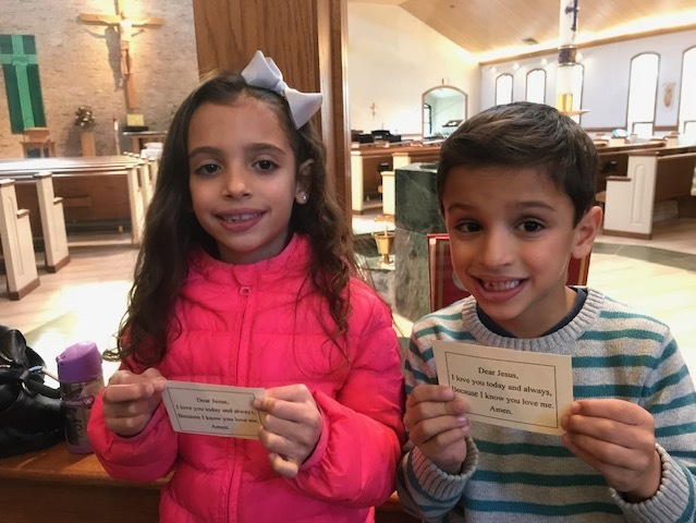 Last month Fr. Darwin gave out prayer cards... what will he have this Sunday at Family Mass?