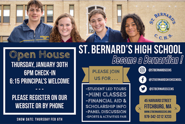 Join us for St. Bernard's Winter Open House: Thursday, January 30th, 6pm!