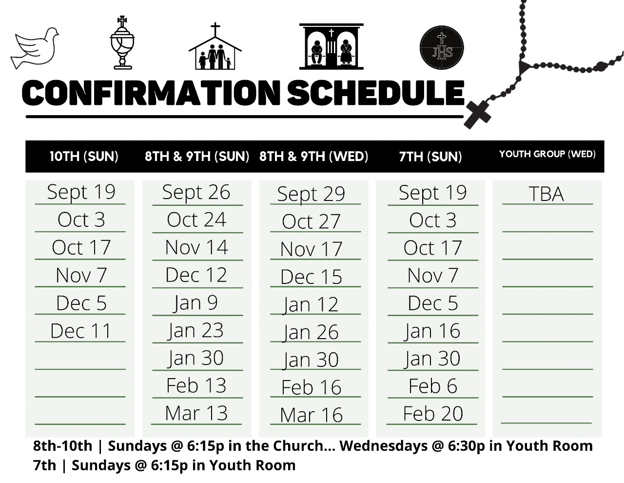 Confirmation Schedule for 2021-2022