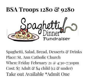 Spaghetti Dinner Fundraiser by Scouts ~ St Ann