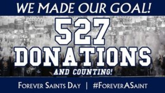 Image of 2019 Forever Saints Day donation total of 527.