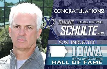 Xavier Football Head Coach, Duane Schulte (L80), is 2021 inductee to IFCA Hall of Fame