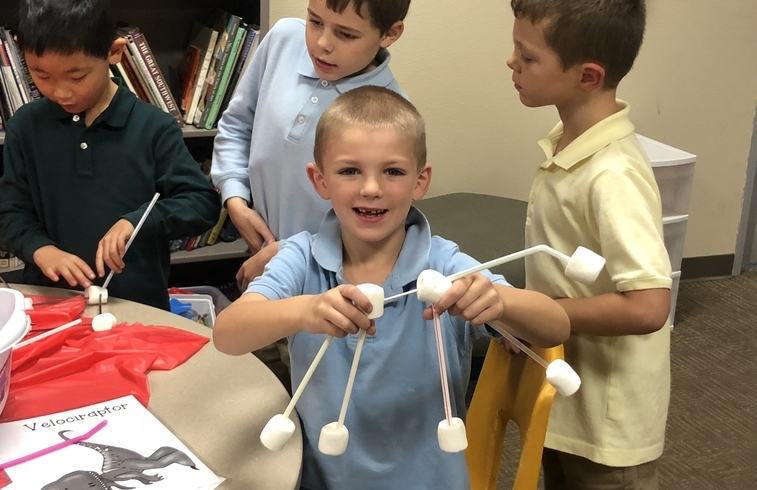Circle of Care students build dinosaurs with straws and marshmallows during a Grout Museum visit
