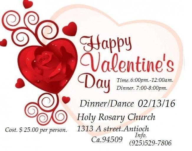 Valentine S Day Dinner Dance February 13th Holy Rosary Church