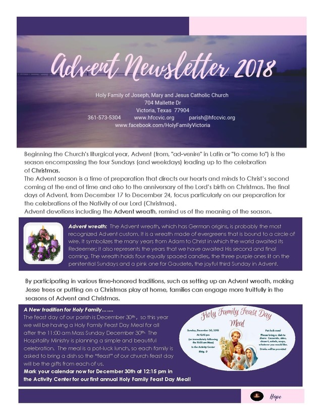 Click here to download your advent newsletter