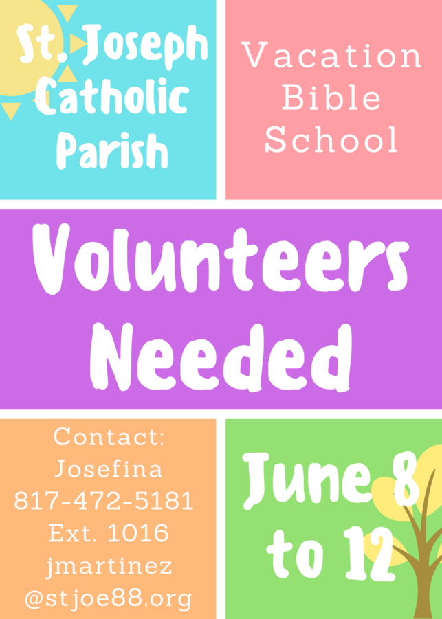 VBS Volunteers needed