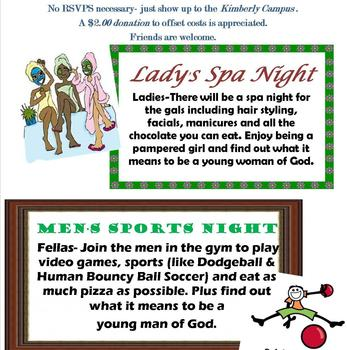Middle School Spa and Sports Night