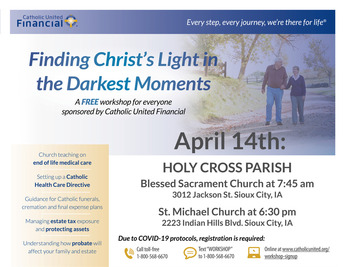 Finding Christ's Light in the Darkest Moment.....and End of Life workshop
