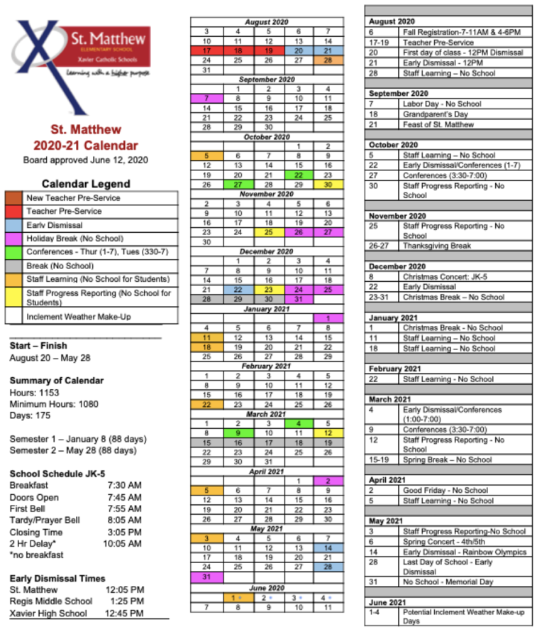 2019-2020 St. Matthew School Year Calendar