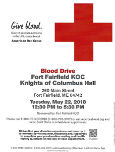BLOOD DRIVE - K. OF C. HALL, FT. FAIRFIELD