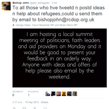 Refugee Crisis - Contact Bishop John