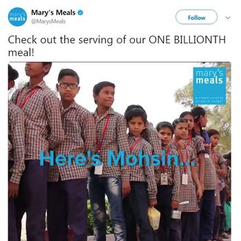 Mary's Meals - Check out the serving of our ONE BILLIONTH meal!