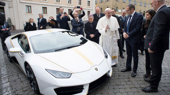 Godspeed! Pope given gold-rimmed Lamborghini Huracan worth £180,000