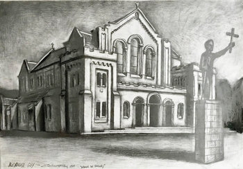 Silent Auction - framed charcoal Drawing of St Mirin's Cathedral