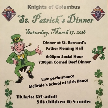 Join us... St. Patrick's Day Dinner - March 17th