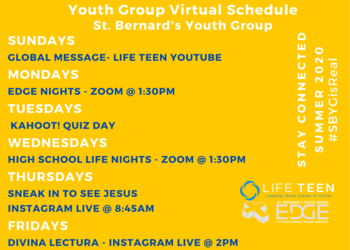 Youth Group Summer Schedule