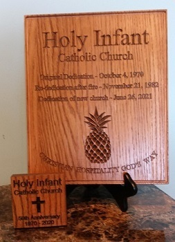 Commemorative plaques crafted from reclaimed pew wood