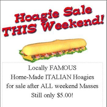 Hoagie Sale - After ALL WEEKEND MASSES