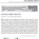 STEWARDSHIP CORNER: GIVING FIRST FRUITS