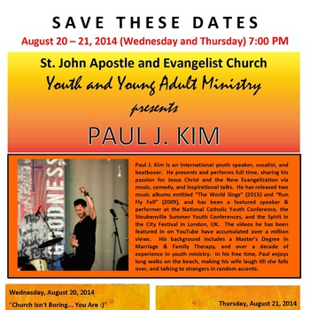 YOUTH AND YOUNG ADULT MINISTRY PRESENTS PAUL J. KIM