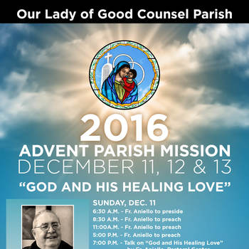 2016 ADVENT PARISH MISSION, DECEMBER 11, 12 AND 13