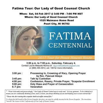 FATIMA TOUR: SATURDAY, FEBRUARY 4