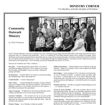 MINISTRY CORNER: COMMUNITY OUTREACH MINISTRY
